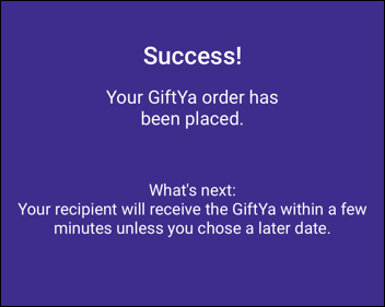 giftya gift card - success order placed