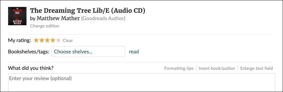 enter book review data - goodreads