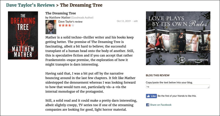 goodreads - the dreaming tree - book review published