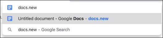 chrome entry address bar - docs.new shortcut
