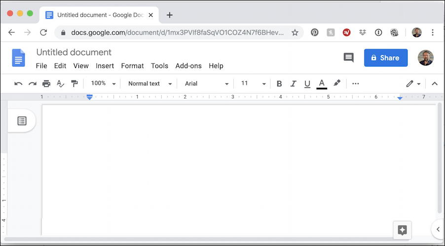 blank google docs in chrome browser