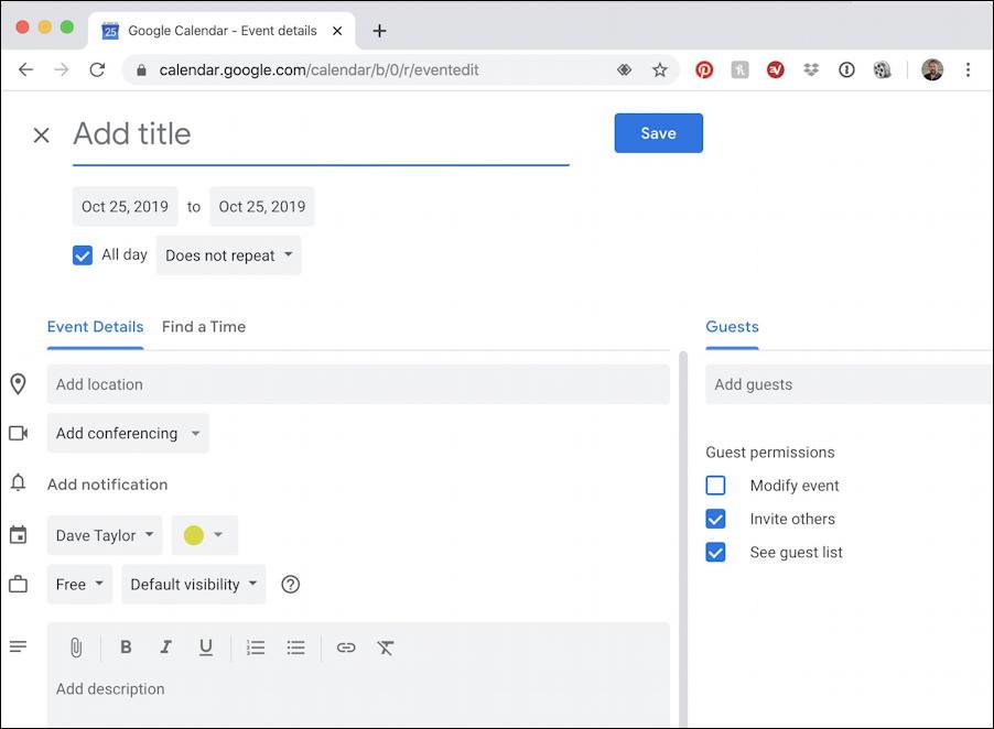 new google calendar event - cal.new shortcut - chrome