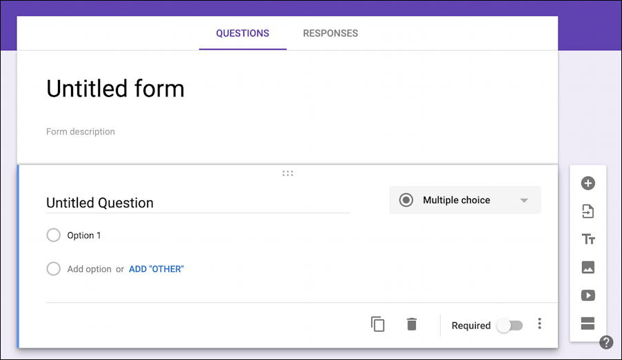 new blank google forms form