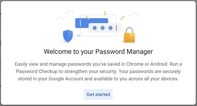 welcome to google password manager