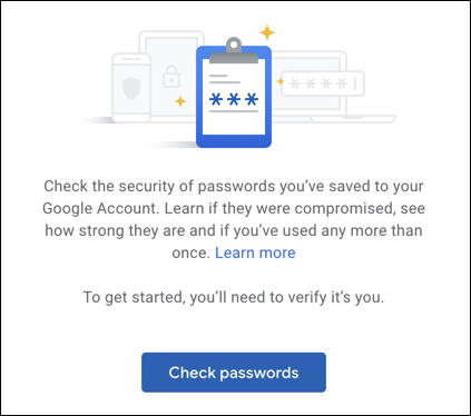 how to get started google password checker