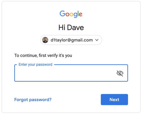 verify log in google gmail account