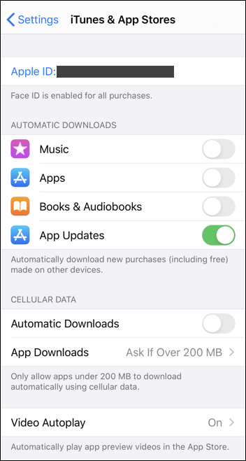 ios13 automatic app updates settings preferences