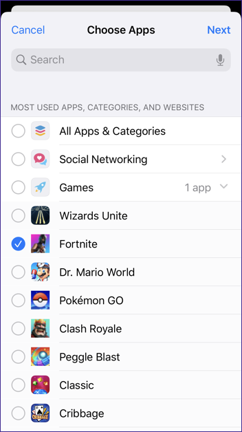 ios13 screen time - app limits - fortnite