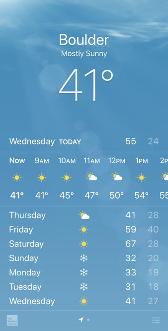boulder weather - iphone app