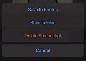 save to photos files delete screenshot iphone ios13