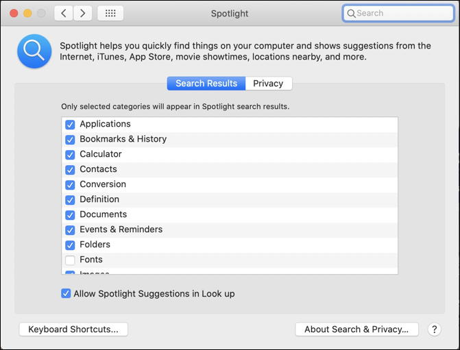 mac spotlight - system preferences configuration settings