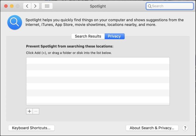 macos x spotlight - privacy omit skip ignore folder