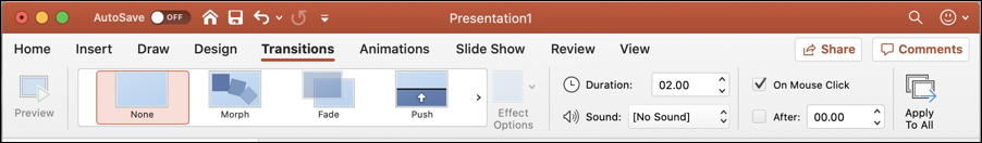 microsoft powerpoint for mac - transitions ribbon toolbar