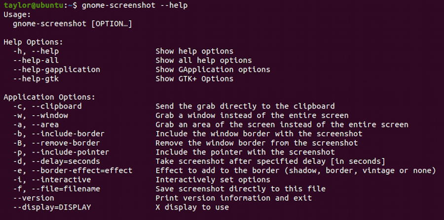 ubuntu linux screenshot program - gnome-screenshot help