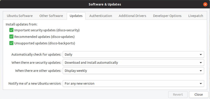 ubuntu linux - software updater - settings and configuration