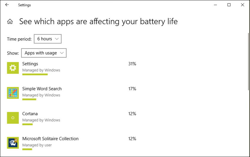 win10 apps using battery