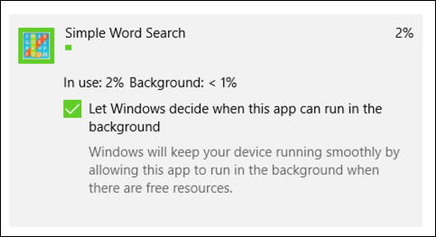 win10 simple word search battery usage