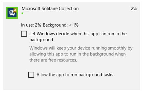 win10 microsoft solitaire collection battery usage