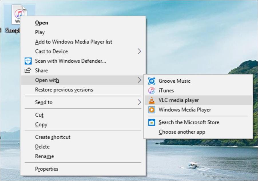 windows 10 - open wav in vlc convert conversion mp3