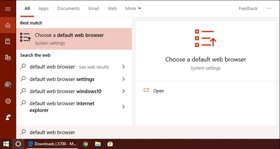 win10 cortana search: default web browser