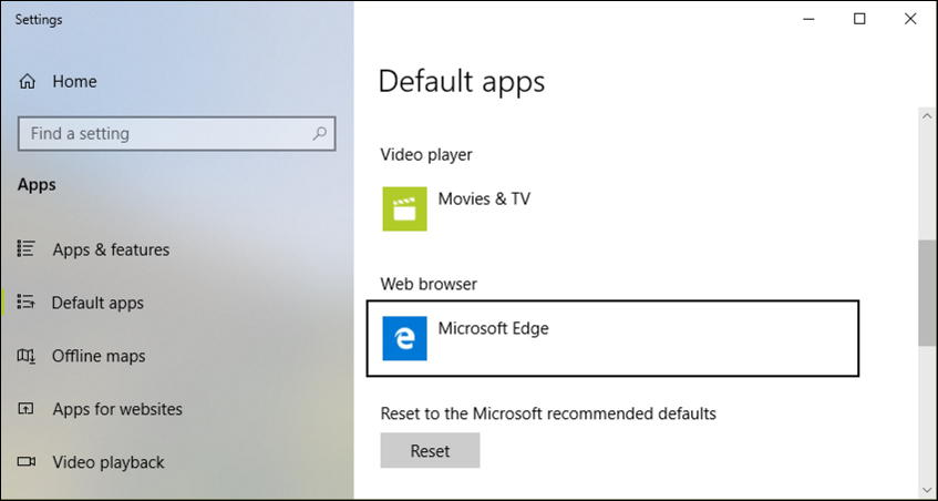 default apps web browser - windows 10 system settings