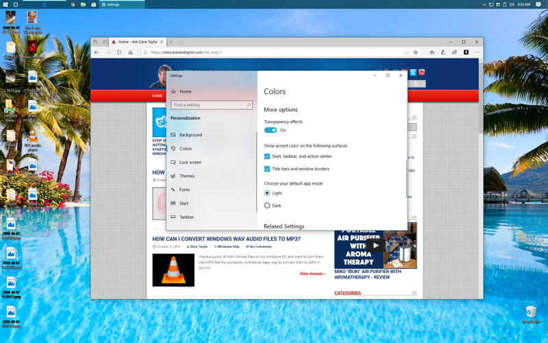windows win10 - taskbar on top of screen display