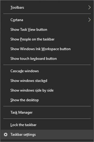 win10 context menu right click windows taskbar