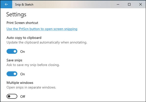 win10 snip & sketch settings preferences screen capture