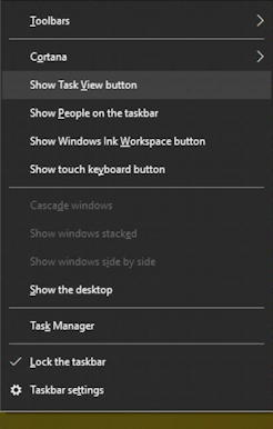 win10 taskbar menu - task view