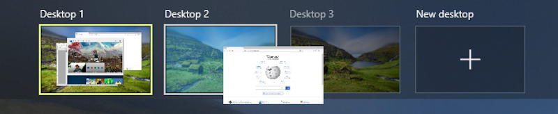 win10 virtual desktops in task view, close up