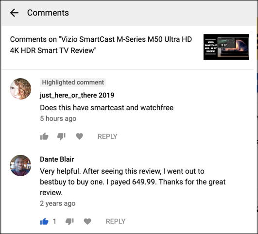 read youtube response reply comments