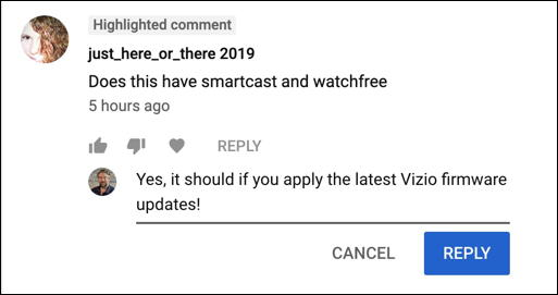 reply to youtube viewer comment message window