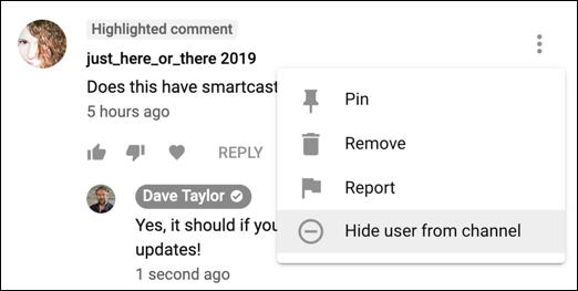 delete / report / hide user comment youtube creator