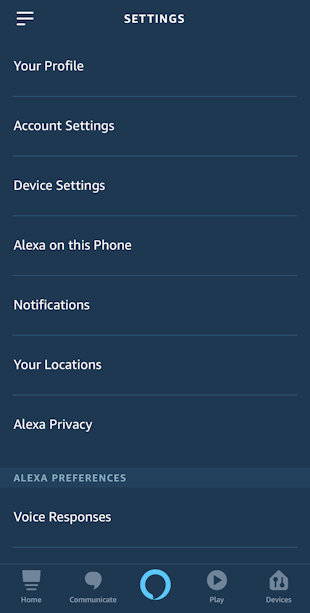 alexa app iphone - settings