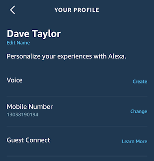 alexa app iphone - your profile