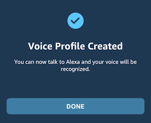 alexa app iphone - voice profile created