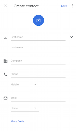 android how to add new phone number name contact address