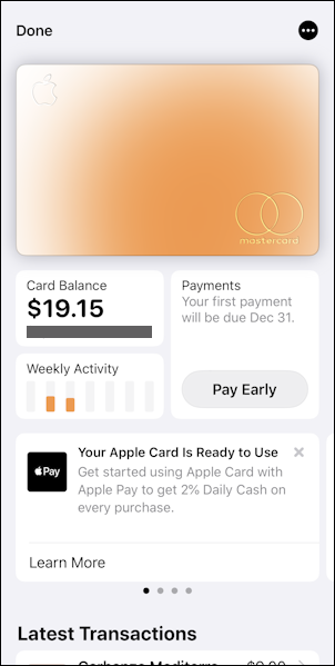 apple card - iphone wallet - user overview interface screen