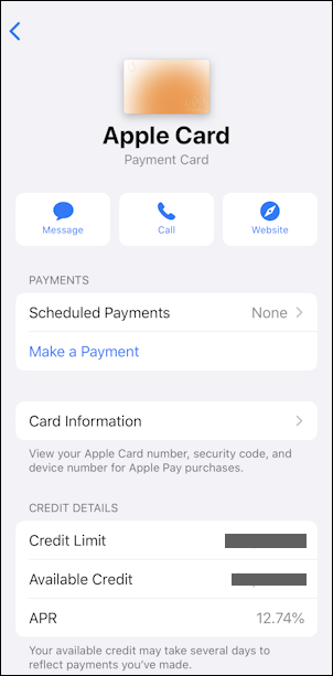 apple card admin interface - iphone wallet ios13