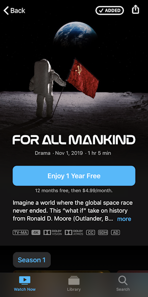 apple tv+ - free subscription - watch for all mankind