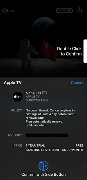 confirm subscription - apple tv+ tv plus free