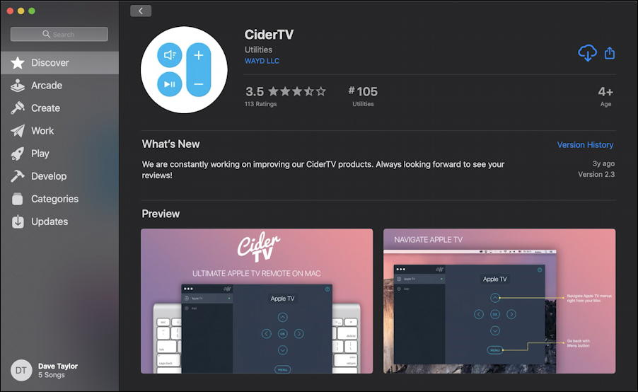 CiderTV app in Mac app store