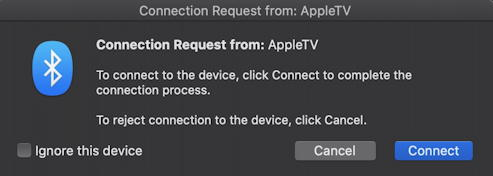 bluetooth connection request from appletv macbook macos x