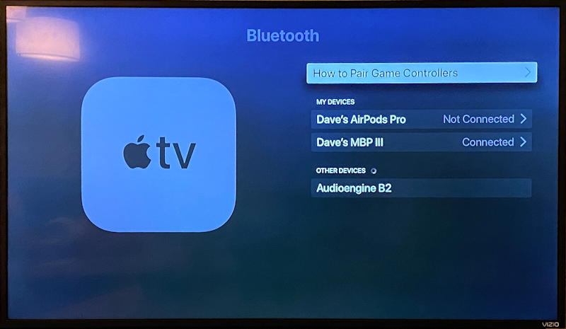 appletv bluetooth paired macbook pro air