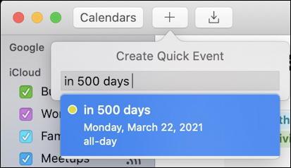 today + 500 days into the future mac ical calendar
