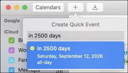 mac ical calendar - 2500 days in the future