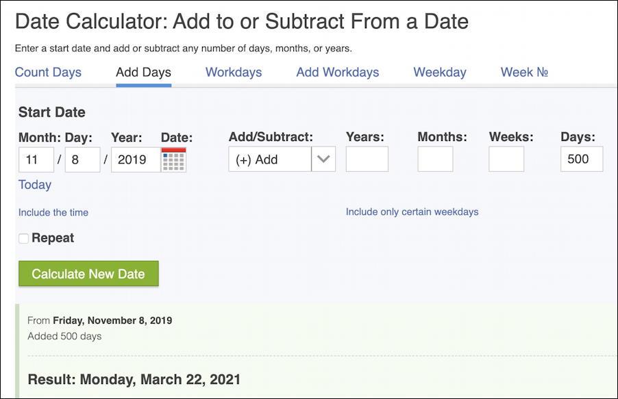 date math - web site - calculator
