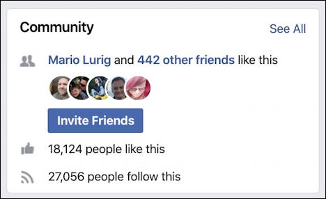 summary box - facebook page followers - invite friends