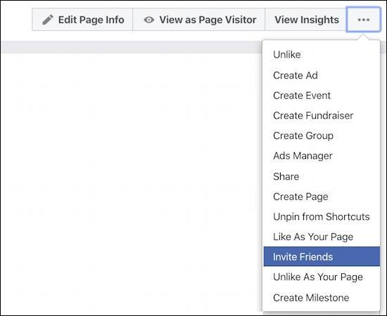 facebook page - invite friends - menu