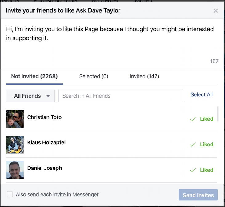 facebook page - invite friends - window